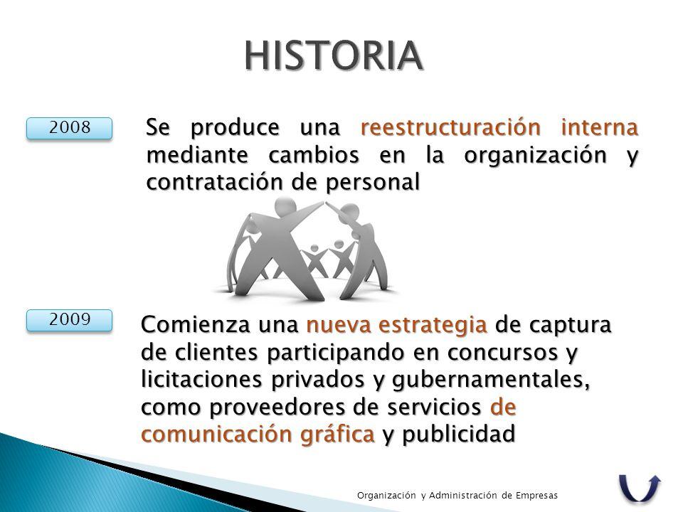 Organización y Administración de Empresas 2008 Se produce una reestructuración interna mediante cambios en la organización y contratación de personal