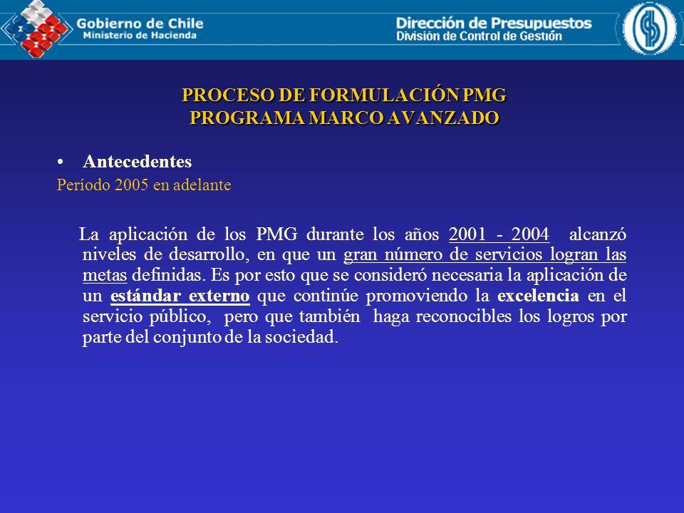 PROCESO DE FORMULACIÓN PMG PROGRAMA MARCO AVANZADO Antecedentes Período 2005 en adelante La aplicación de los PMG durante los años 2001 - 2004 alcanzó niveles de desarrollo, en que un gran número de servicios logran las metas definidas.