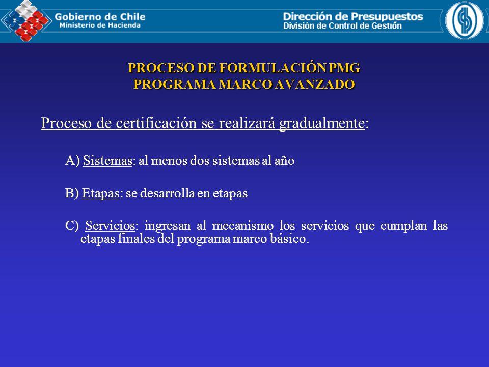 Proceso de certificación se realizará gradualmente: A) Sistemas: al menos dos sistemas al año B) Etapas: se desarrolla en etapas C) Servicios: ingresan al mecanismo los servicios que cumplan las etapas finales del programa marco básico.