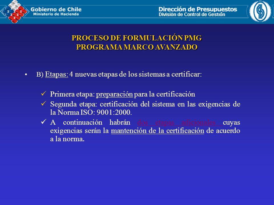 B) Etapas: 4 nuevas etapas de los sistemas a certificar: Primera etapa: preparación para la certificación Segunda etapa: certificación del sistema en las exigencias de la Norma ISO: 9001:2000.