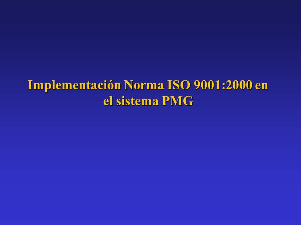 Implementación Norma ISO 9001:2000 en el sistema PMG