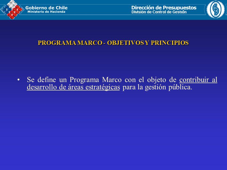 PROGRAMA MARCO - OBJETIVOS Y PRINCIPIOS Se define un Programa Marco con el objeto de contribuir al desarrollo de áreas estratégicas para la gestión pública.