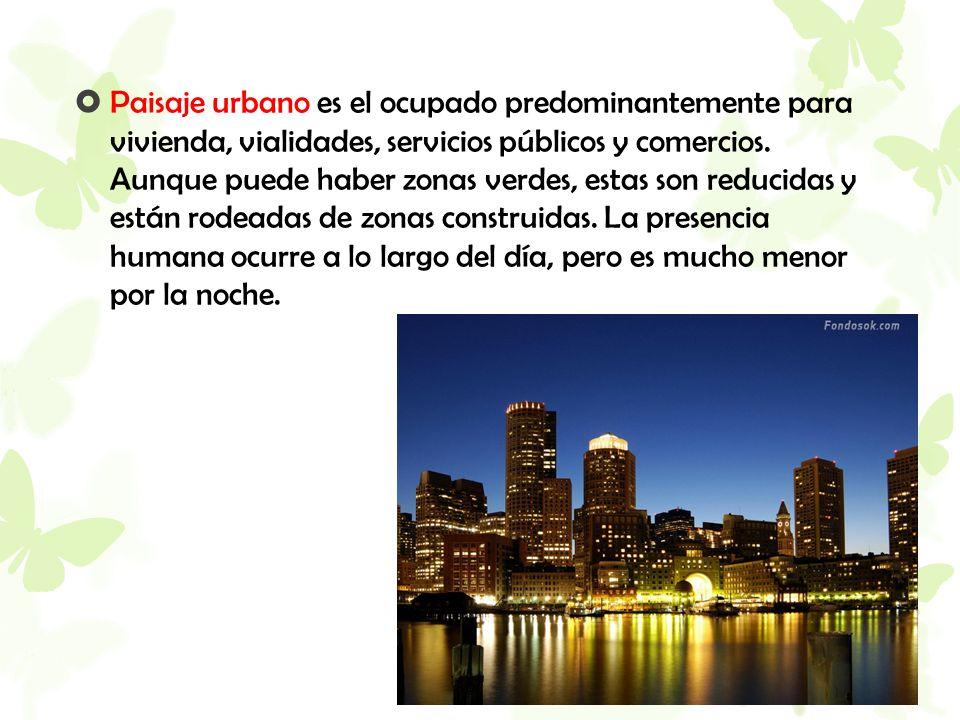  Paisaje urbano es el ocupado predominantemente para vivienda, vialidades, servicios públicos y comercios. Aunque puede haber zonas verdes, estas son