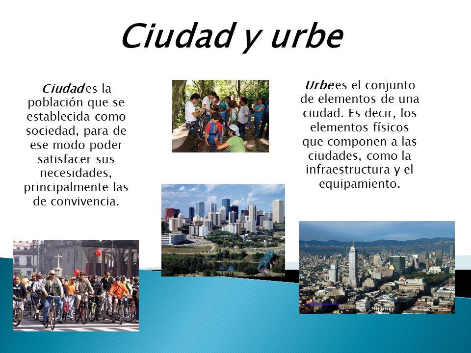 Ciudad y urbe Ciudad es la población que se establecida como sociedad, para de ese modo poder satisfacer sus necesidades, principalmente las de conviv
