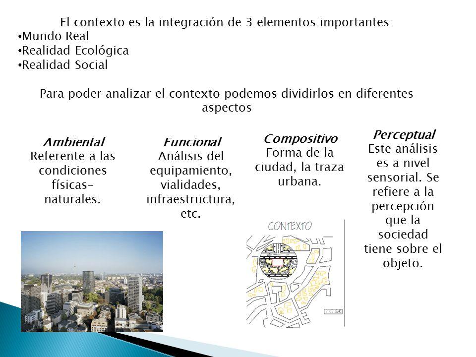 El contexto es la integración de 3 elementos importantes: Mundo Real Realidad Ecológica Realidad Social Para poder analizar el contexto podemos dividi