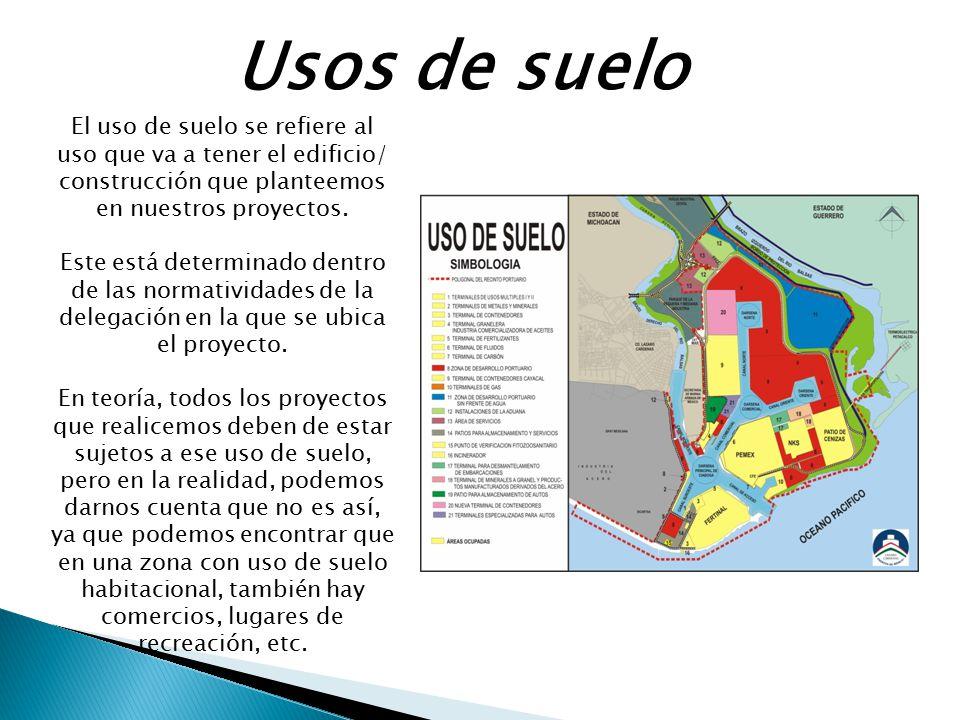 Usos de suelo El uso de suelo se refiere al uso que va a tener el edificio/ construcción que planteemos en nuestros proyectos. Este está determinado d