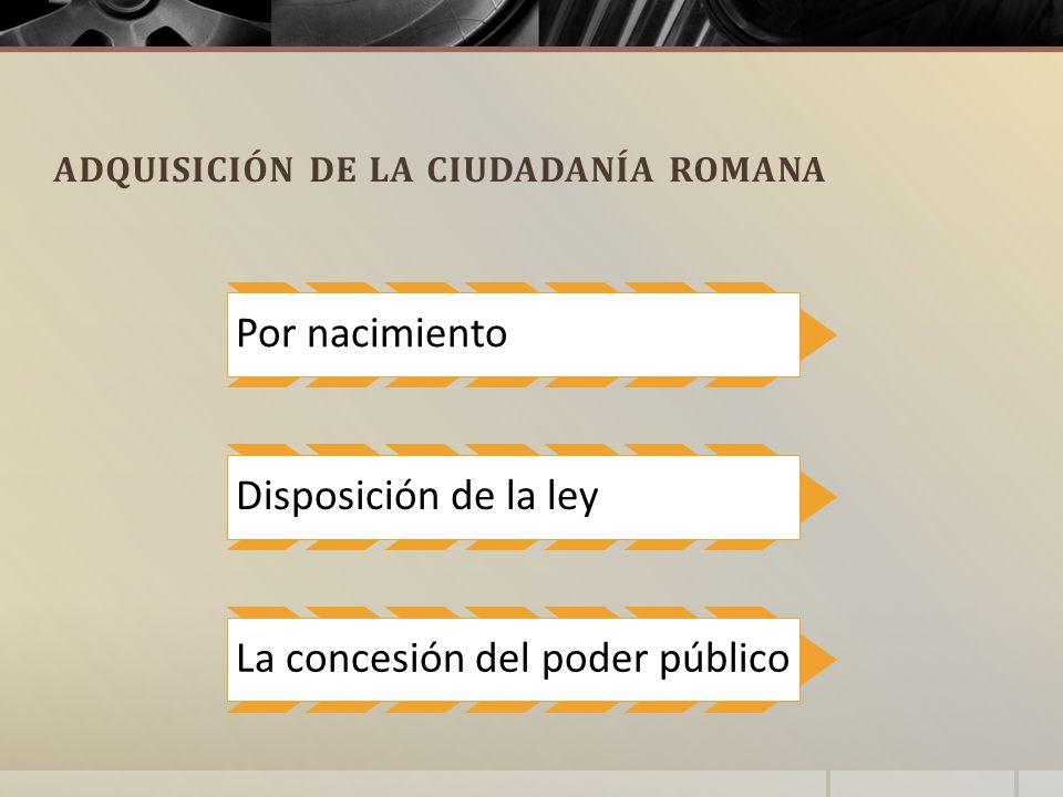 ADQUISICIÓN DE LA CIUDADANÍA ROMANA Por nacimiento Disposición de la ley La concesión del poder público