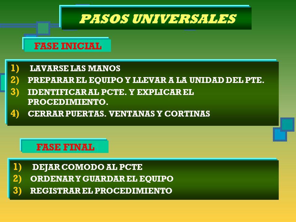 PASOS UNIVERSALES 1) LAVARSE LAS MANOS 2) PREPARAR EL EQUIPO Y LLEVAR A LA UNIDAD DEL PTE.
