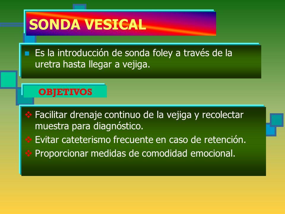 SONDA VESICAL OBJETIVOS Es la introducción de sonda foley a través de la uretra hasta llegar a vejiga.