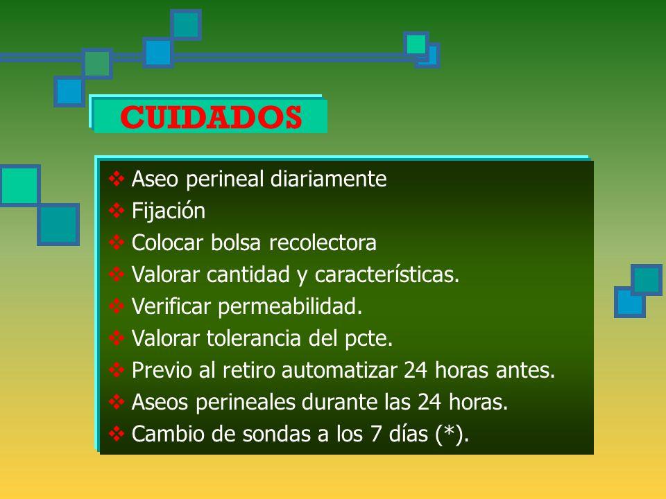 CUIDADOS  Aseo perineal diariamente  Fijación  Colocar bolsa recolectora  Valorar cantidad y características.