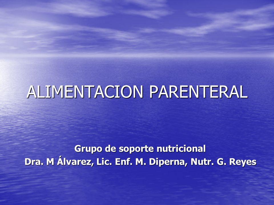 ALIMENTACION PARENTERAL Grupo de soporte nutricional Dra. M Álvarez, Lic. Enf. M. Diperna, Nutr. G. Reyes