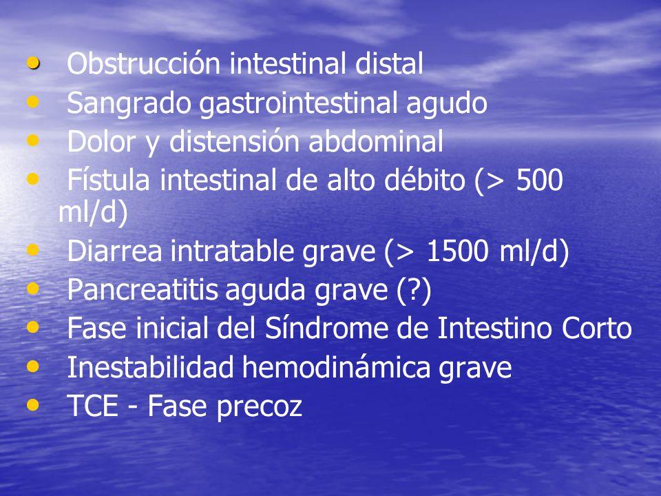 Obstrucción intestinal distal Sangrado gastrointestinal agudo Dolor y distensión abdominal Fístula intestinal de alto débito (> 500 ml/d) Diarrea intr