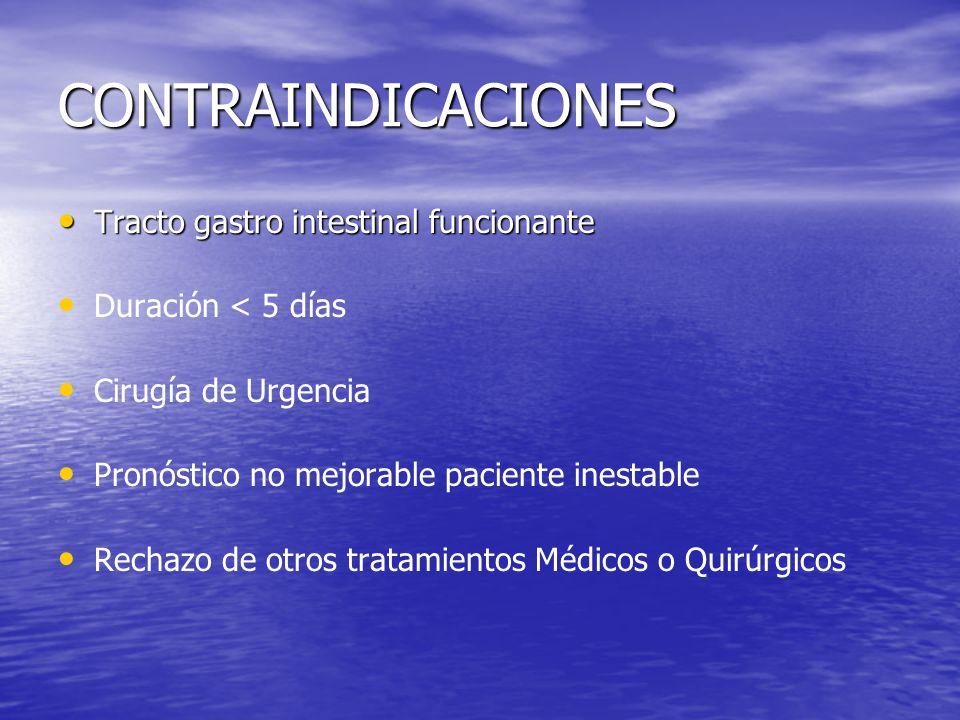 CONTRAINDICACIONES Tracto gastro intestinal funcionante Tracto gastro intestinal funcionante Duración < 5 días Cirugía de Urgencia Pronóstico no mejor