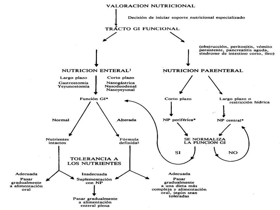 CONCEPTO DE NUTRICIÓN PARENTERAL: Administrar nutrientes al torrente sanguíneo por un acceso venoso con el fin de cubrir los requerimientos y necesidades nutricionales actuales del paciente Aporte de nutrientes por vía EXTRADIGESTIVA, ya sea una por: -VENA periférica o central - LÍNEA VENOSA en hemodiálisis