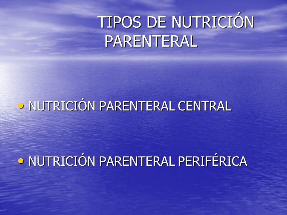 NUTRICIÓN PARENTERAL CENTRAL NUTRICIÓN PARENTERAL CENTRAL NUTRICIÓN PARENTERAL PERIFÉRICA NUTRICIÓN PARENTERAL PERIFÉRICA TIPOS DE NUTRICIÓN PARENTERA