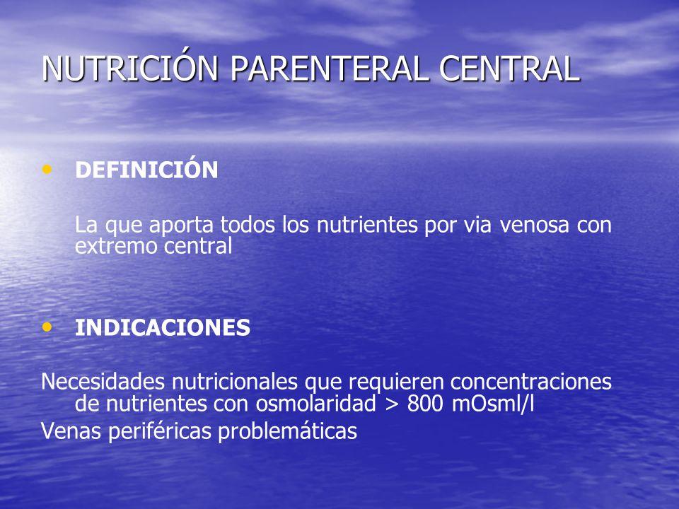 NUTRICIÓN PARENTERAL CENTRAL DEFINICIÓN La que aporta todos los nutrientes por via venosa con extremo central INDICACIONES Necesidades nutricionales q