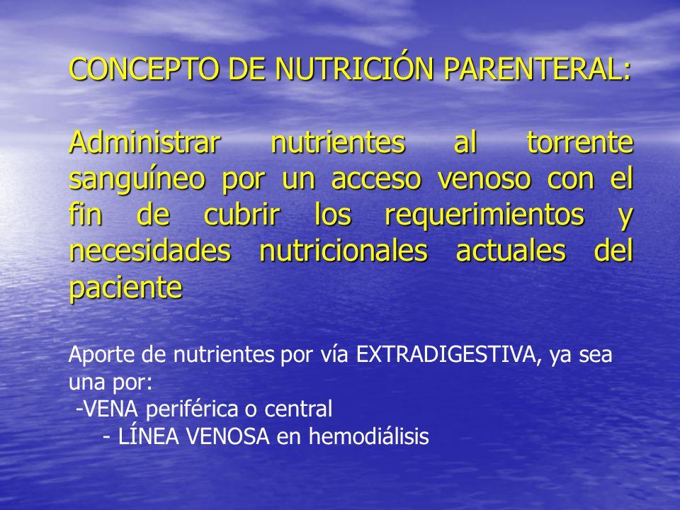 CONCEPTO DE NUTRICIÓN PARENTERAL: Administrar nutrientes al torrente sanguíneo por un acceso venoso con el fin de cubrir los requerimientos y necesida