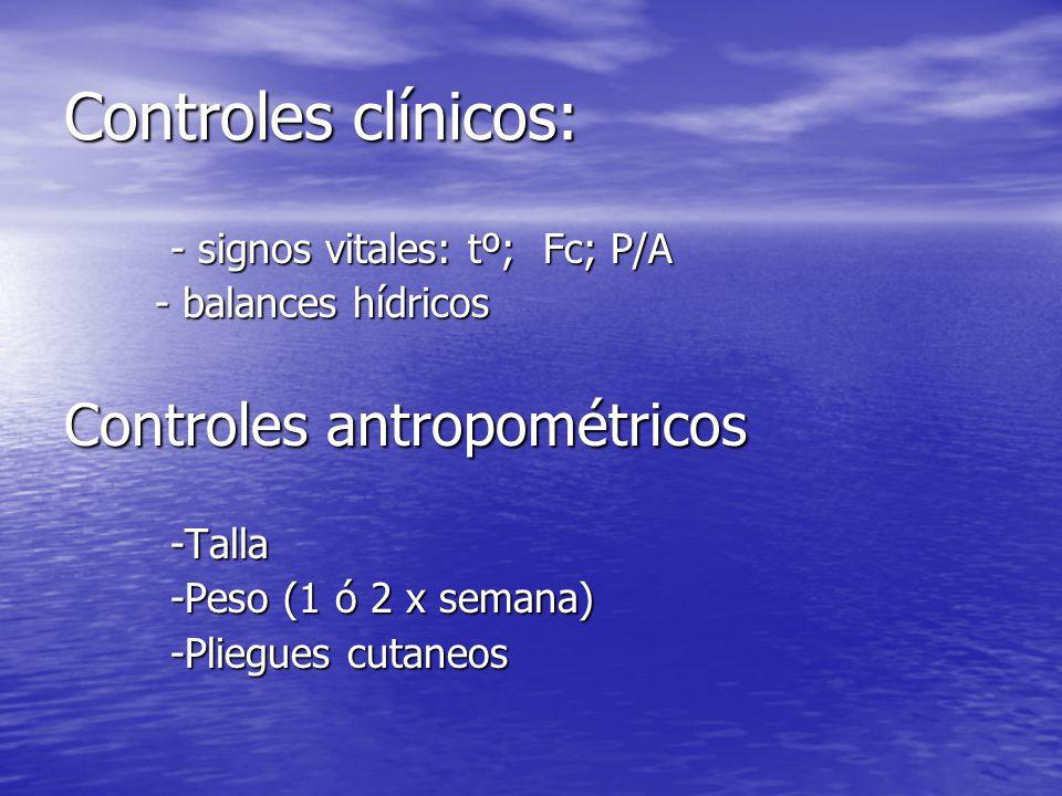 Controles clínicos: - signos vitales: tº; Fc; P/A - balances hídricos - balances hídricos Controles antropométricos -Talla -Peso (1 ó 2 x semana) -Pli