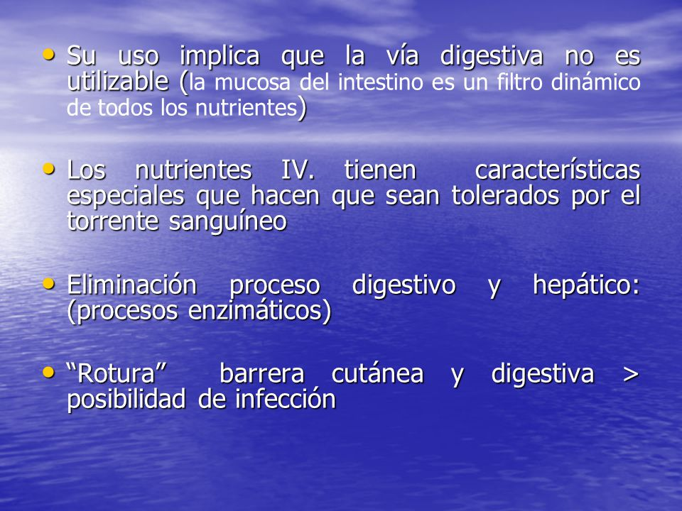 NPT Técnica compleja Técnica compleja Complicaciones : Complicaciones : - morbimortalidad - morbimortalidad - prolongan estancia hospital - prolongan estancia hospital - aumentan costos - aumentan costos Equipos especializados: Equipos especializados: - minimizan efectos secundarios - minimizan efectos secundarios - diagnóstico precoz - diagnóstico precoz