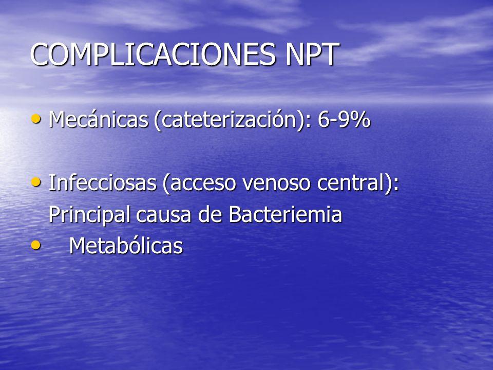 COMPLICACIONES NPT Mecánicas (cateterización): 6-9% Mecánicas (cateterización): 6-9% Infecciosas (acceso venoso central): Infecciosas (acceso venoso c