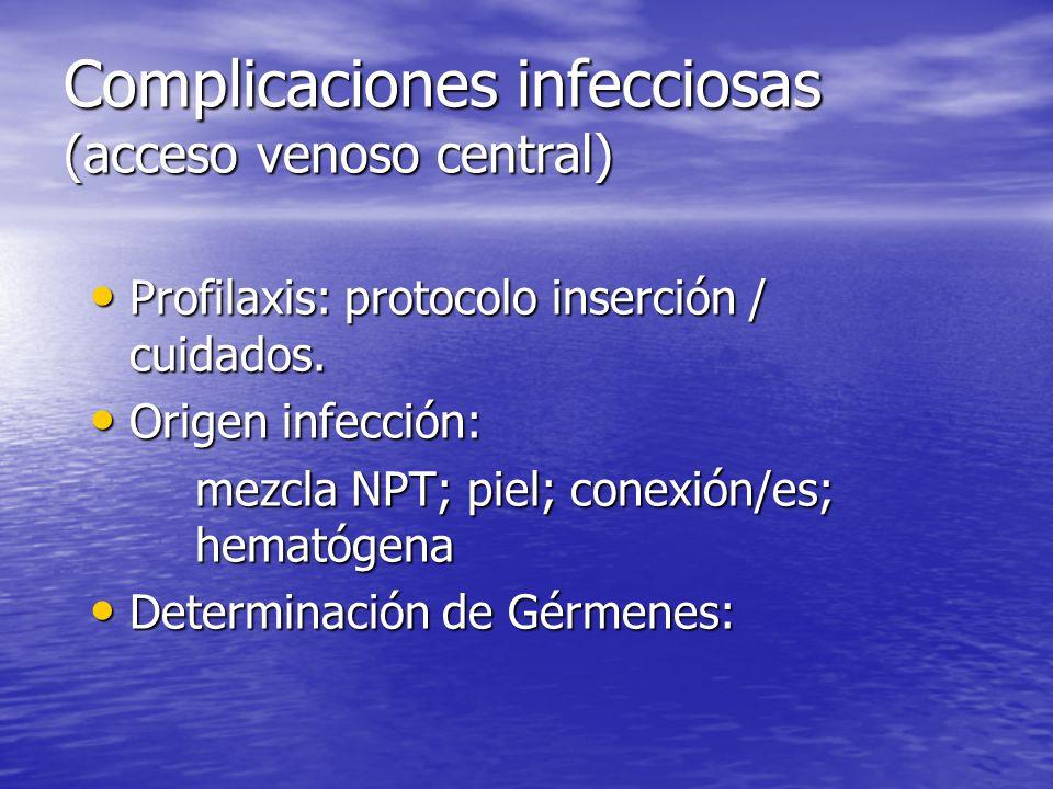 Complicaciones infecciosas (acceso venoso central) Profilaxis: protocolo inserción / cuidados. Profilaxis: protocolo inserción / cuidados. Origen infe