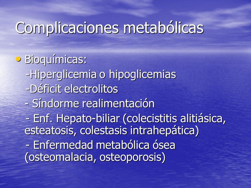 Complicaciones metabólicas Bioquímicas: Bioquímicas: -Hiperglicemia o hipoglicemias -Hiperglicemia o hipoglicemias -Déficit electrolitos -Déficit elec