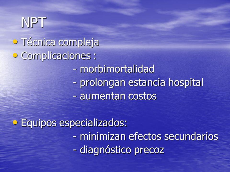 Valoración estado nutrición: Valoración estado nutrición: - Antropométricas - Antropométricas - Bioquímicos - Bioquímicos Cálculo / medición requerimientos Cálculo / medición requerimientos Prescripción: Prescripción: - Controles - Controles - Complicaciones - Complicaciones Modificaciones prescripción Modificaciones prescripción