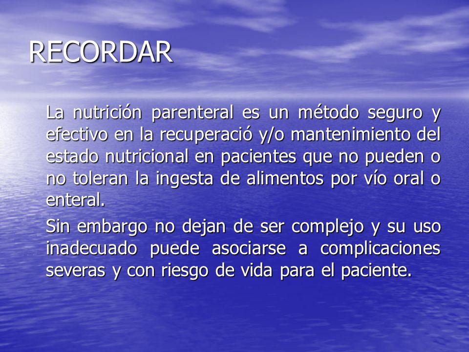 RECORDAR La nutrición parenteral es un método seguro y efectivo en la recuperació y/o mantenimiento del estado nutricional en pacientes que no pueden