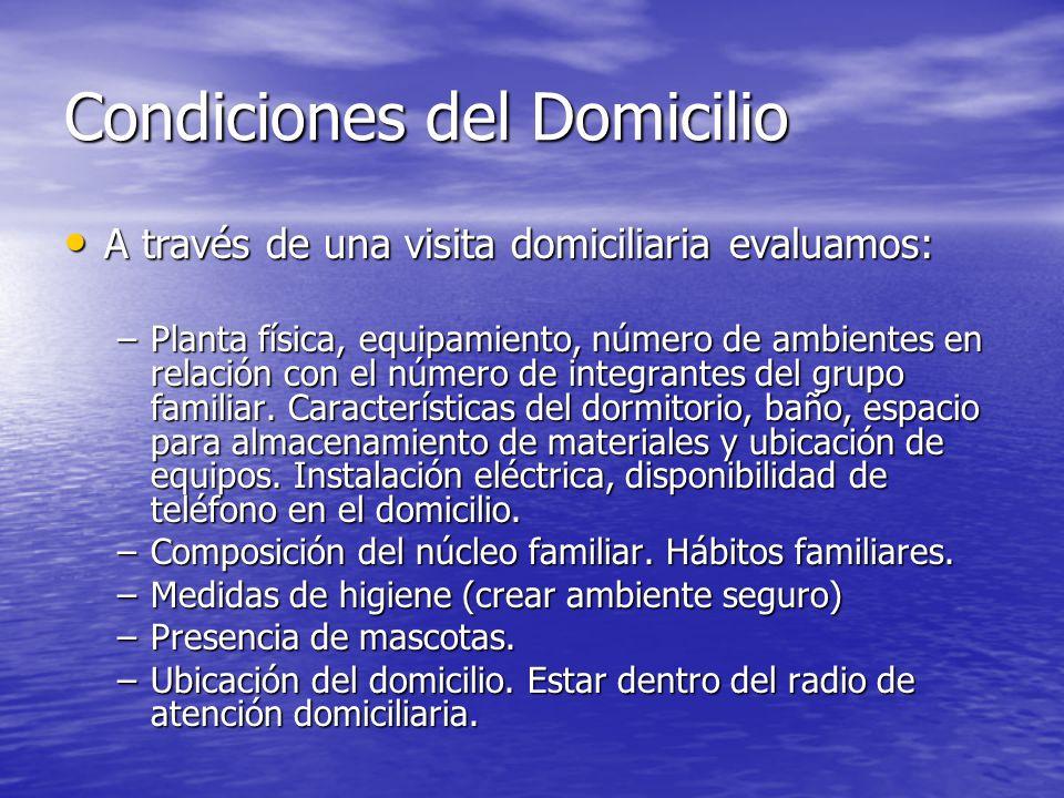 Condiciones del Domicilio A través de una visita domiciliaria evaluamos: A través de una visita domiciliaria evaluamos: –Planta física, equipamiento,