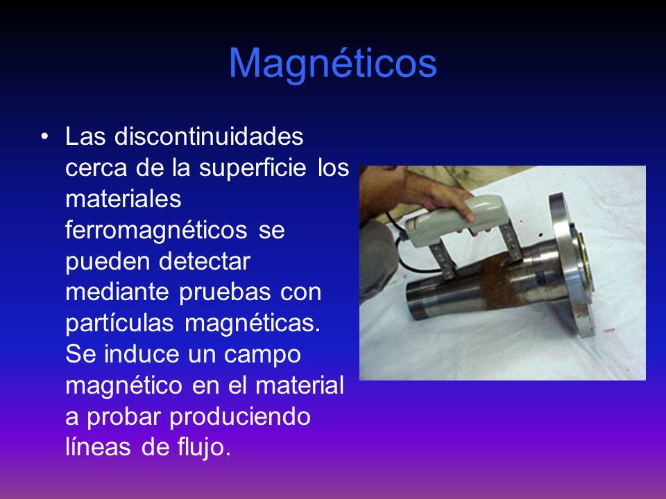 Magnéticos Las discontinuidades cerca de la superficie los materiales ferromagnéticos se pueden detectar mediante pruebas con partículas magnéticas. S
