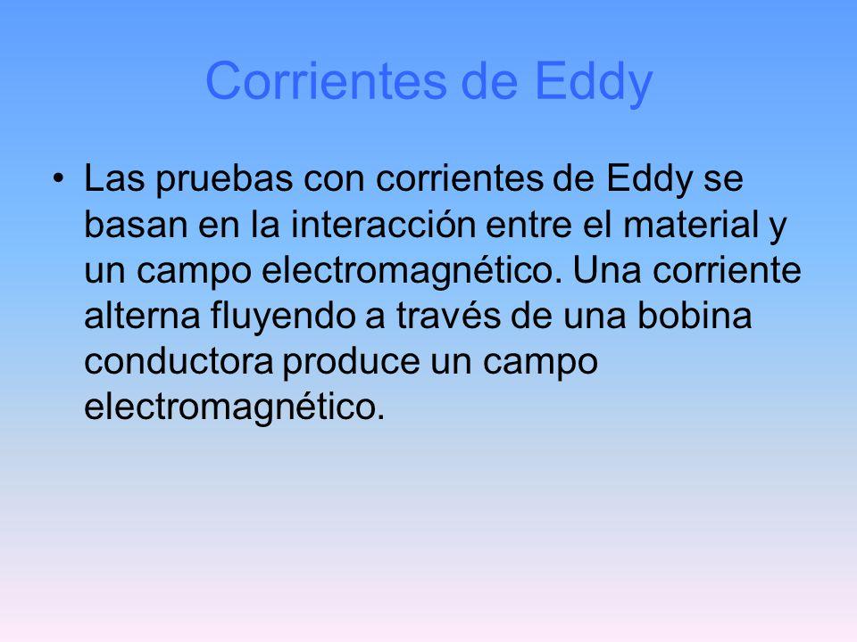 Corrientes de Eddy Las pruebas con corrientes de Eddy se basan en la interacción entre el material y un campo electromagnético. Una corriente alterna