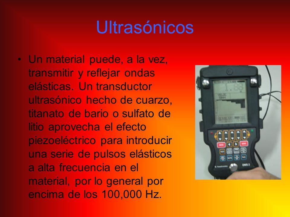 Ultrasónicos Un material puede, a la vez, transmitir y reflejar ondas elásticas. Un transductor ultrasónico hecho de cuarzo, titanato de bario o sulfa