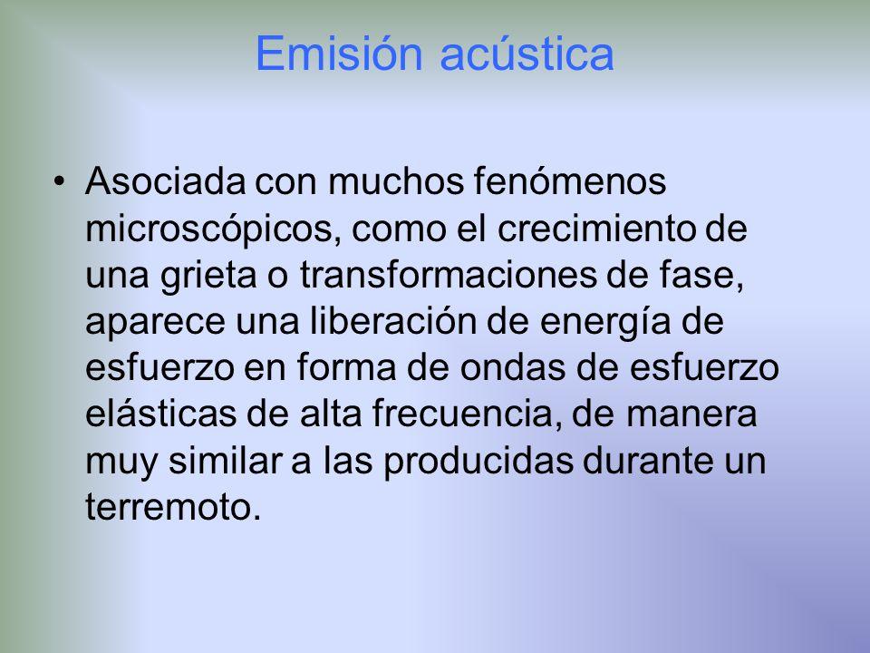 Emisión acústica Asociada con muchos fenómenos microscópicos, como el crecimiento de una grieta o transformaciones de fase, aparece una liberación de