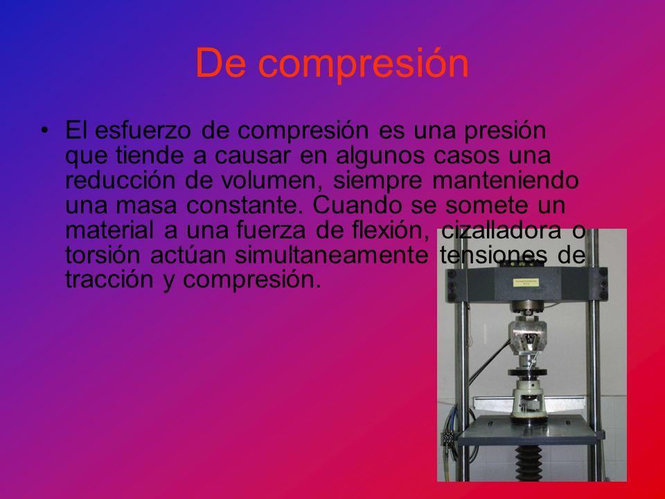 De compresión El esfuerzo de compresión es una presión que tiende a causar en algunos casos una reducción de volumen, siempre manteniendo una masa con