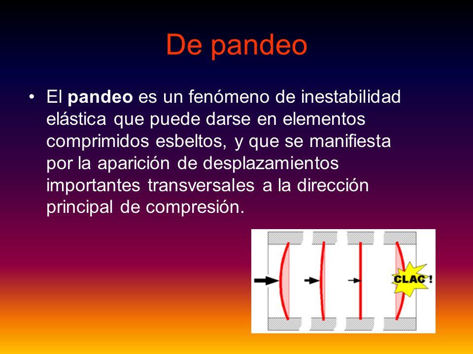 De pandeo El pandeo es un fenómeno de inestabilidad elástica que puede darse en elementos comprimidos esbeltos, y que se manifiesta por la aparición d