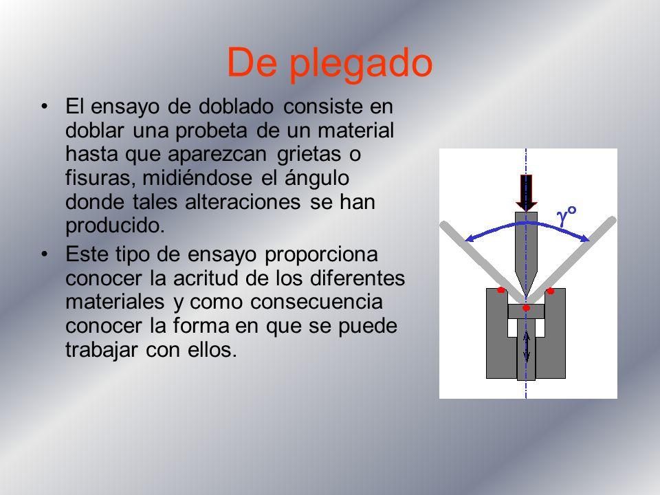 De plegado El ensayo de doblado consiste en doblar una probeta de un material hasta que aparezcan grietas o fisuras, midiéndose el ángulo donde tales