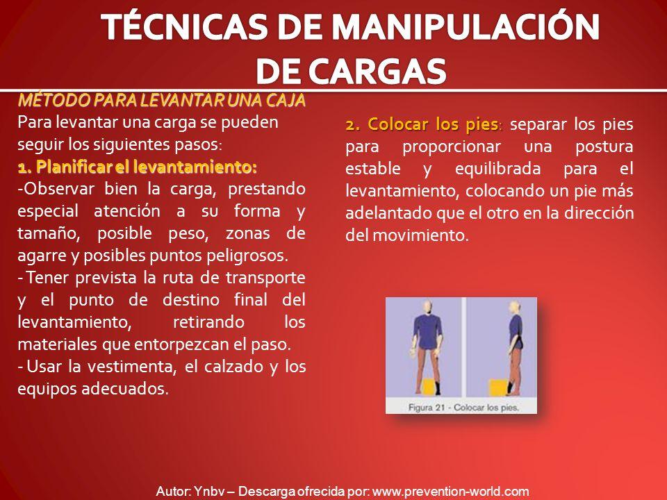 Autor: Ynbv – Descarga ofrecida por: www.prevention-world.com MÉTODO PARA LEVANTAR UNA CAJA Para levantar una carga se pueden seguir los siguientes pasos: 1.