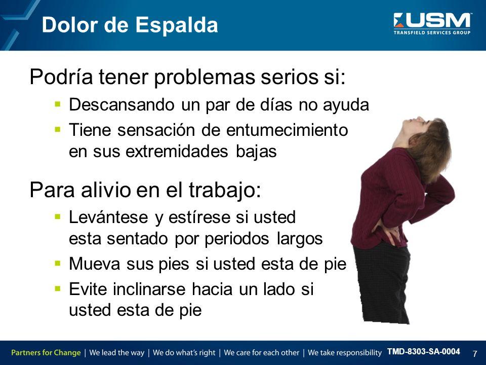 TMD-8303-SA-0004 8  Mala condición física – manténgase en forma  Falta de estirar y calentar apropiadamente  Postura inapropiada  Elevación incorrecta  Malos hábitos de elevación Factores del Dolor de Espalda