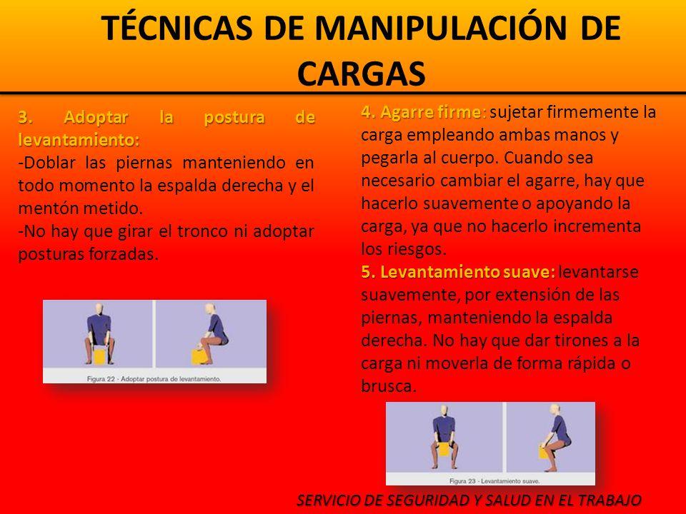 TÉCNICAS DE MANIPULACIÓN DE CARGAS SERVICIO DE SEGURIDAD Y SALUD EN EL TRABAJO 3.
