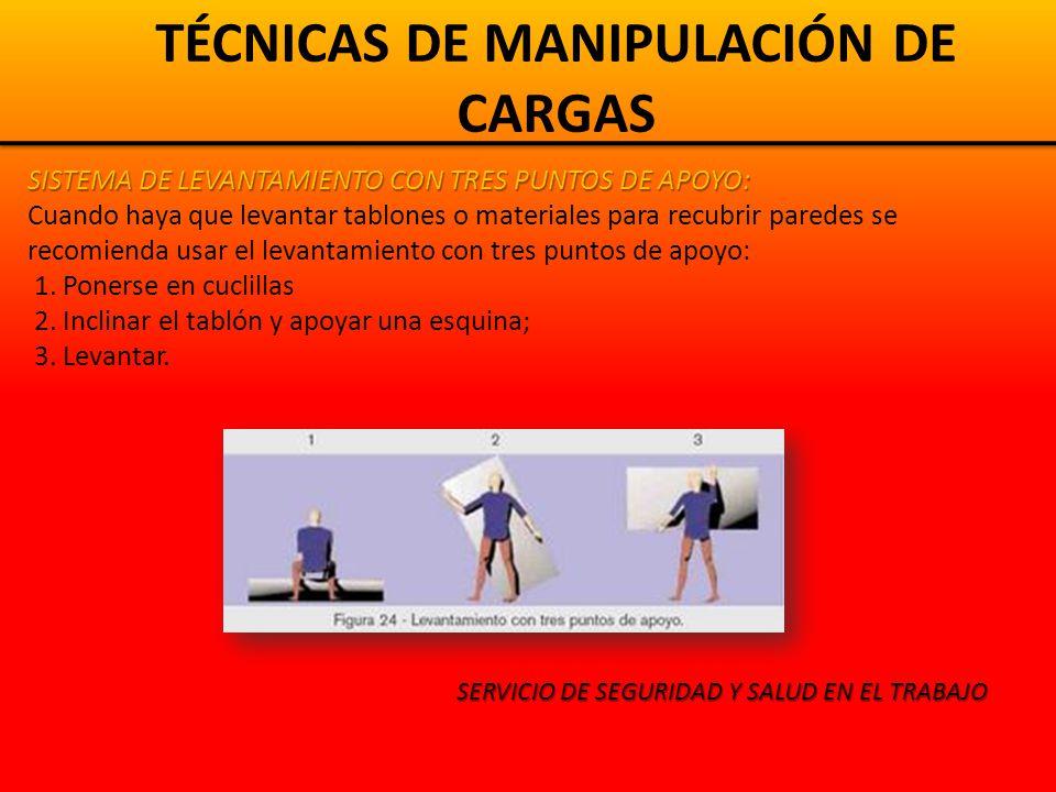 TÉCNICAS DE MANIPULACIÓN DE CARGAS SISTEMA DE LEVANTAMIENTO DE SACOS PESADOS: 1.Colocarse con una rodilla en el suelo.