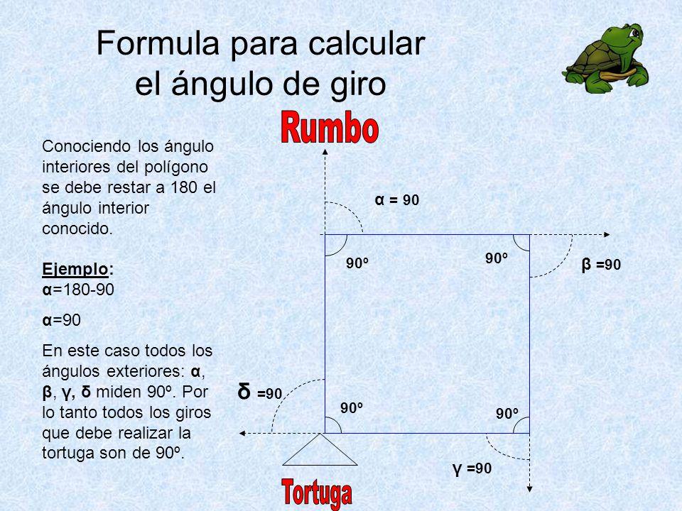 α = 90 β =90 γ =90 Conociendo los ángulo interiores del polígono se debe restar a 180 el ángulo interior conocido.