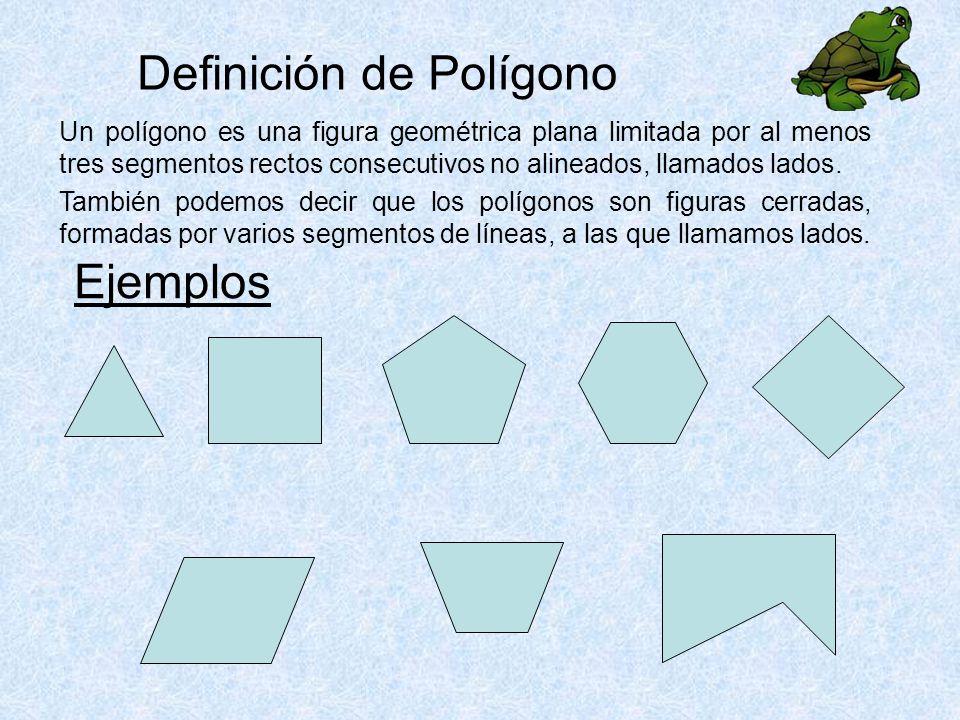 Definición de Polígono Un polígono es una figura geométrica plana limitada por al menos tres segmentos rectos consecutivos no alineados, llamados lados.