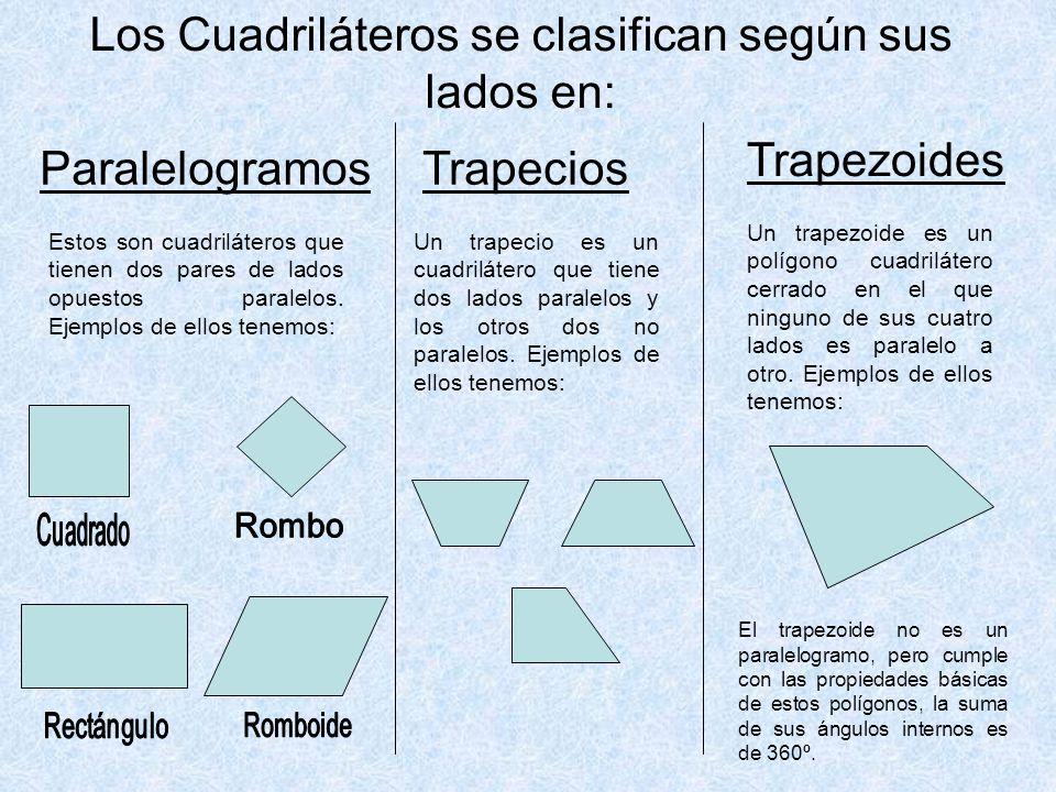 Los Cuadriláteros se clasifican según sus lados en: Estos son cuadriláteros que tienen dos pares de lados opuestos paralelos.