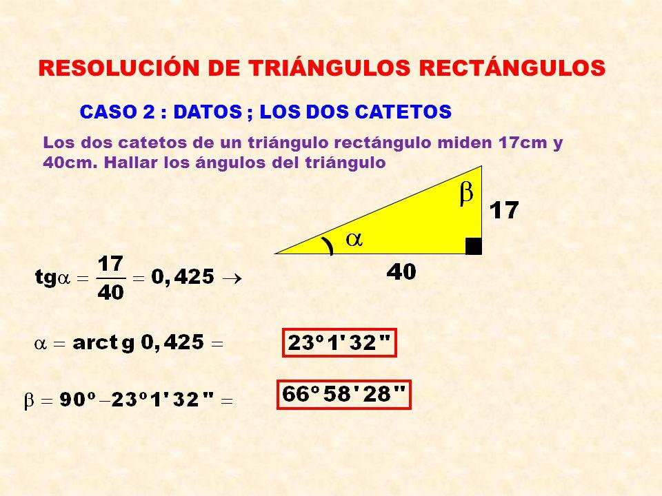 RESOLUCIÓN DE TRIÁNGULOS RECTÁNGULOS CASO 1 : DATOS, HIPOTENUSA y ÁNGULO AGUDO En un triángulo rectángulo, un ángulo agudo mide 27º y la hipotenusa 46m.