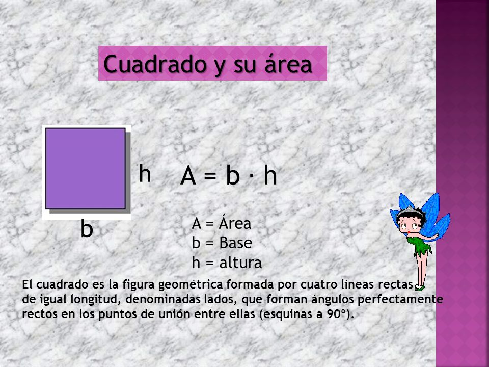 Cuadrado y su área b h El cuadrado es la figura geométrica formada por cuatro líneas rectas de igual longitud, denominadas lados, que forman ángulos perfectamente rectos en los puntos de unión entre ellas (esquinas a 90º).