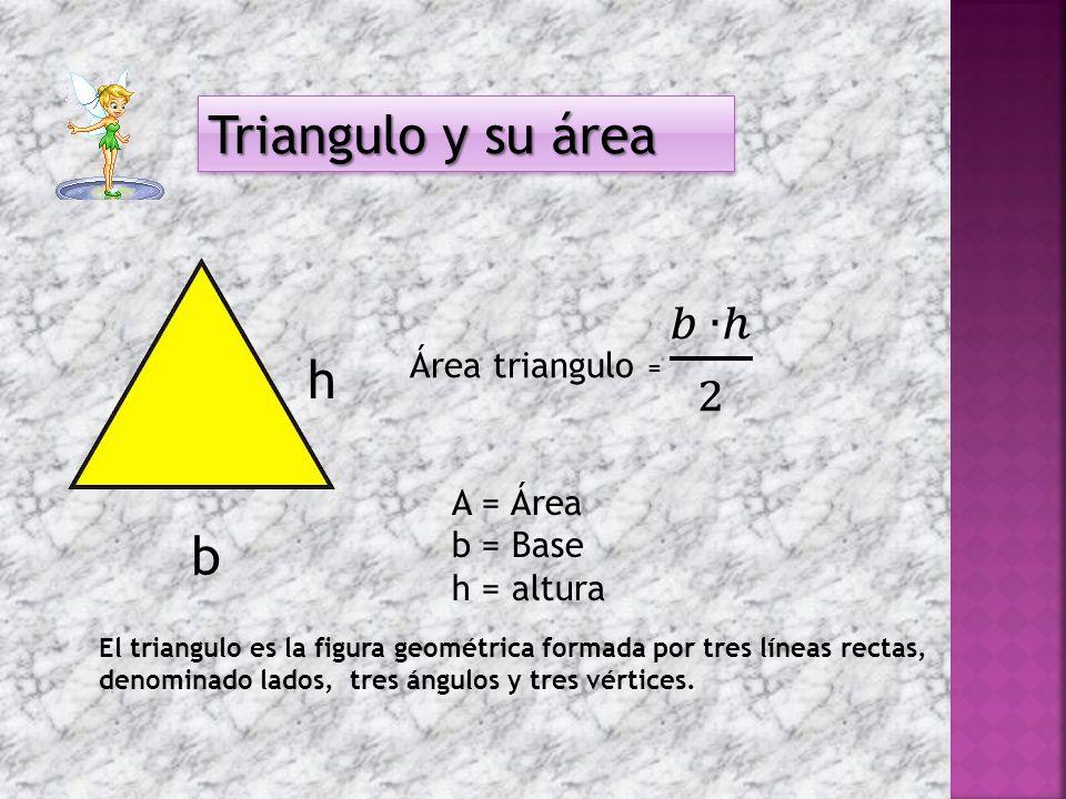 Triangulo y su área Triangulo y su área b h El triangulo es la figura geométrica formada por tres líneas rectas, denominado lados, tres ángulos y tres vértices.