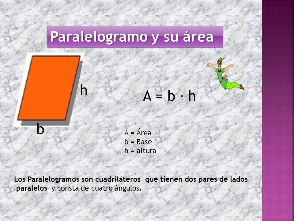Paralelogramo y su área b h Los Paralelogramos son cuadriláteros que tienen dos pares de lados paralelos y consta de cuatro ángulos.