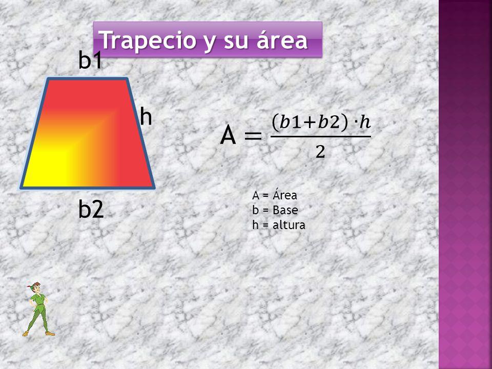 Trapecio y su área b2 h b1 A = Área b = Base h = altura