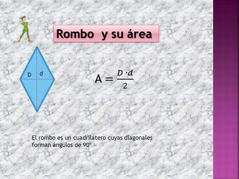 Rombo y su área D d El rombo es un cuadrilátero cuyas diagonales forman ángulos de 90º