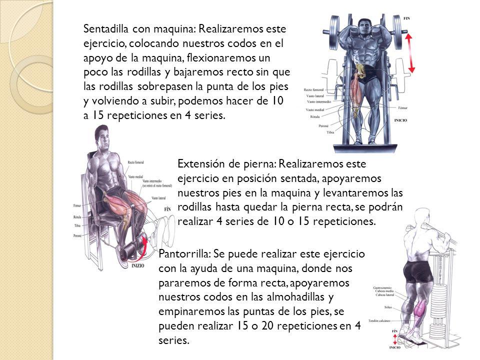 Sentadilla con maquina: Realizaremos este ejercicio, colocando nuestros codos en el apoyo de la maquina, flexionaremos un poco las rodillas y bajaremos recto sin que las rodillas sobrepasen la punta de los pies y volviendo a subir, podemos hacer de 10 a 15 repeticiones en 4 series.